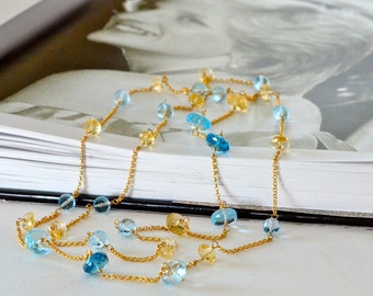 Diana Long Necklace, Sky Blue Topaz, London Blue Topaz, Golden Citrine