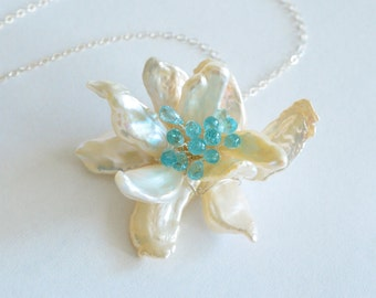 Keishi Pearl, Apatite, Orchid Flower, Silver Necklace