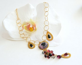 Watermelon Tourmaline Gold Filled Long Chain Autumn Necklace