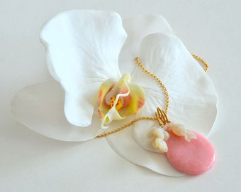 Pink Opal, Australian Carved Opal, Flower Gold Modernist Necklace