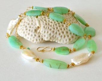 Chrysoprase, Biwa Pearl, Gold Filled Necklace
