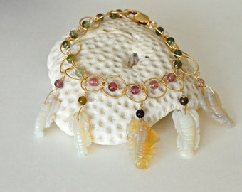 Watermelon Tourmaline, Australian Opal Carved Crabs, Charms Bracelet, October Birthstone