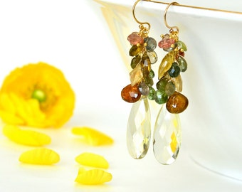 Lemon Quartz, Citrine, Multi Tourmaline, Andalusite, Garnet Long Cluster Earrings