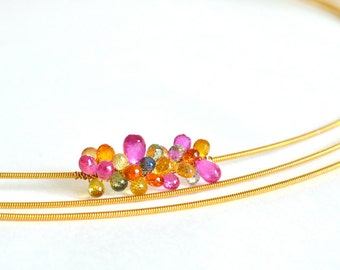 Fancy Sapphire, Rainbow Bib, Gold Filled Necklace