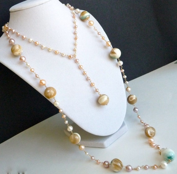 Pearl, Green Oyster Shell, Elegant Multi Strand Necklaces Set