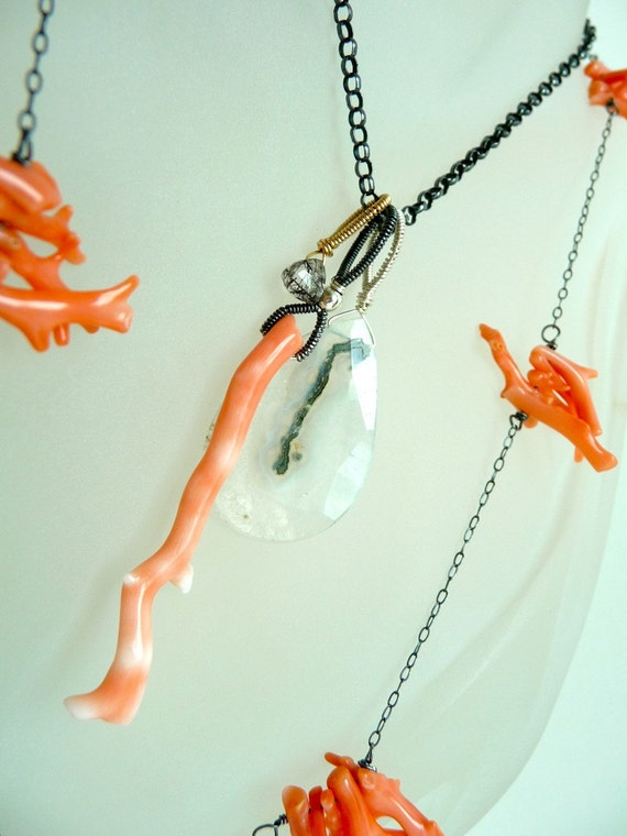 Reserved. Salmon Coral Solar Quartz Oxidized Sterling Silver Abstract Modernist Necklace