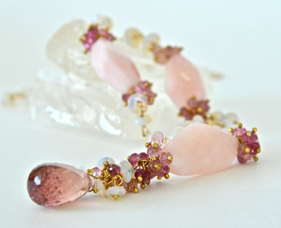 Pink Opal, Tourmaline, Australian Opal, Gold, Wire Wrapped, Gemstone Necklace , Luxury, Women Fashion