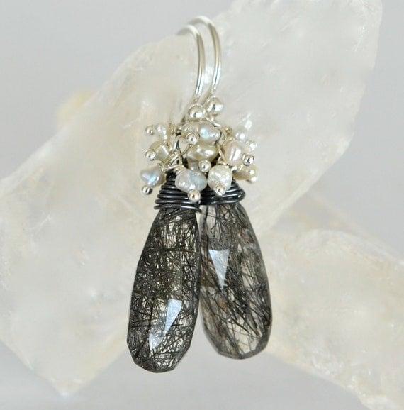 Reserved. Black Rutilated Quartz Akoya Saltwater Keishi Pearls Sterling Silver Earrings
