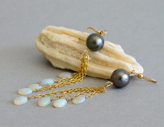 Tahitian Pearl, Australian Opal Long Flapper Earrings