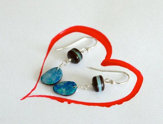 Australian Boulder Opal Silver Abstract Earrings