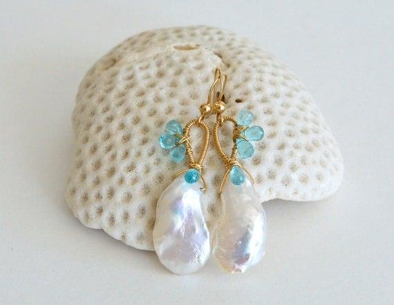 Keishi Pearl Apatite Earrings