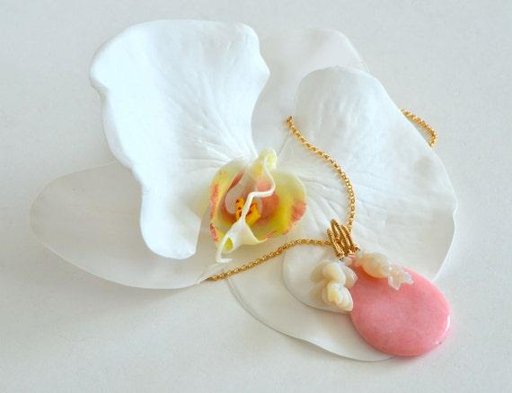 Pink Opal, Australian Carved Opal, Flower Gold Modernist Necklaceber