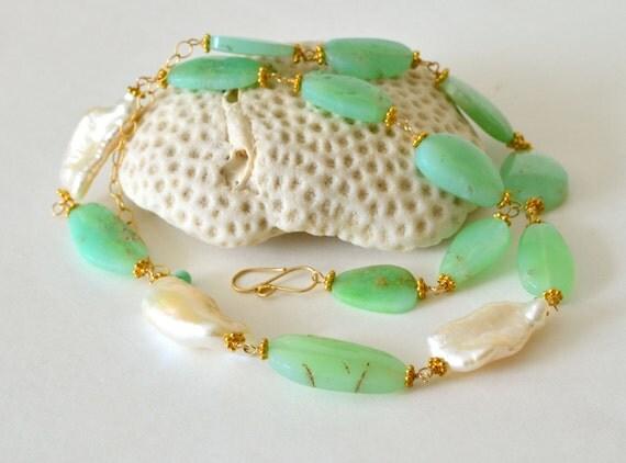 Chrysoprase, Biwa Pearl, Gold Filled Necklace