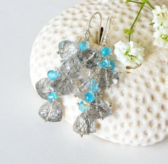 Sterling Silver Long Cluster Earrings, Black Tourmalated Quartz, Apatite, Akoya Saltwater Keishi Pearls