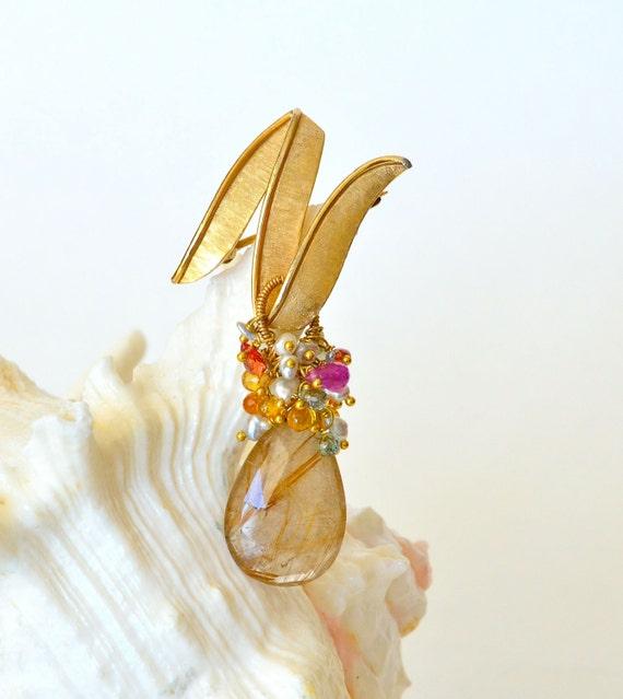 Vintage Gold Brooch, Golden Rutilated Quartz, Sapphire, Akoya Saltwater Keishi Pearls