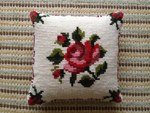 Wool cross stitch Tapestry rose pillow / cushion