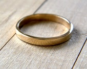 Gold Wedding Band, 2.5mm Slim Flat Recycled 14k Solid Yellow Gold Ring Women's Wedding Ring - Size 6 1/4 or Made in Your Size