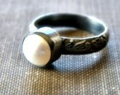 Pearl Ring, White Freshwater Pearl Floral Pattern Oxidized Sterling Silver Ring - Ready to Ship in US Size 6 - Silk