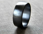 Mens Band, Brushed 8mm Men's or Unisex Oxidized Recycled Metal Argentium Sterling Silver Wide Ring - Made in Your Size