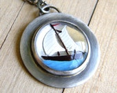 White and Aqua Blue Vintage Glass Sailboat and Roughed Up Sterling Silver Necklace Nautical Spring Fashion - Ahoy - Made To Order