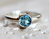 Swiss Blue Topaz Ring, Faceted Aqua Blue Gemstone Bright Sterling Silver Ring December Birthstone Sky Blue   - Made to Order