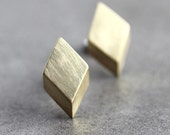 Geometric Modern Post Earrings, Brushed Golden Brass Diamond Sterling Silver Stud Earrings - Made to Order