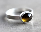 Brown Tourmaline Ring, Olive Green Brown Gemstone Sterling Silver Ring  Metalsmithed - Ready to Ship in US Size 7