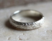Sterling Silver Ring, Floral Pattern Sterling Silver Band Romantic Spring Fashion  - Made in Your Size