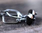 Black Spinel Earrings, Coal Black Stone Oxidized Sterling Silver Earrings Minimalist Geometric Simple - LBD