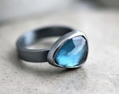 London Blue Topaz Ring, Rose Cut Teal Blue Stone Oxidized Recycled Sterling Silver Ring December Birthstone Blue Topaz Jewelry - US Size 7