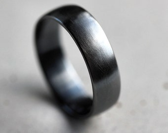 Mens Band, Brushed 6mm Men's or Women's Low Dome Unisex Oxidized Argentium Sterling Silver Wide Ring Recycled Metal  -  Made In Your Size
