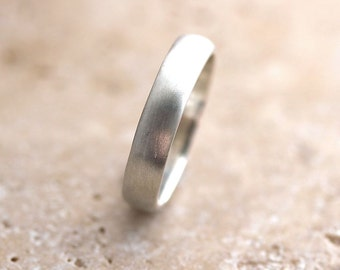 Silver Wedding Band, Brushed  Men's or Women's Unisex 4mm Low Dome Recycled Metal Argentium Sterling Silver Ring - Made in Your Size