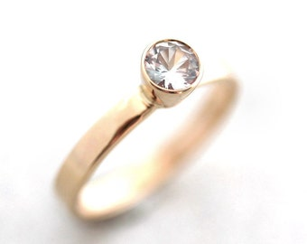 White Sapphire Engagement Ring, Recycled 14k Yellow Gold Sapphire Ring Gold Engagement Ring or Promise Ring  - US Size 5