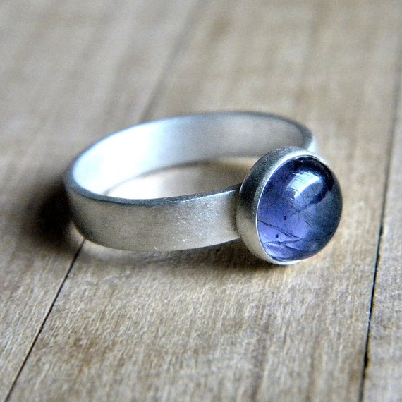 Iolite Ring, Denim Blue Iolite Matte Sterling Silver Ring - Size 7.5 - Amy