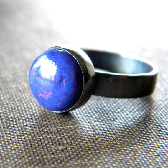 On Sale - Purple Turquoise Ring, Violet Purple Turquoise Oxidized Sterling Silver Ring - Size 8 - Mojave