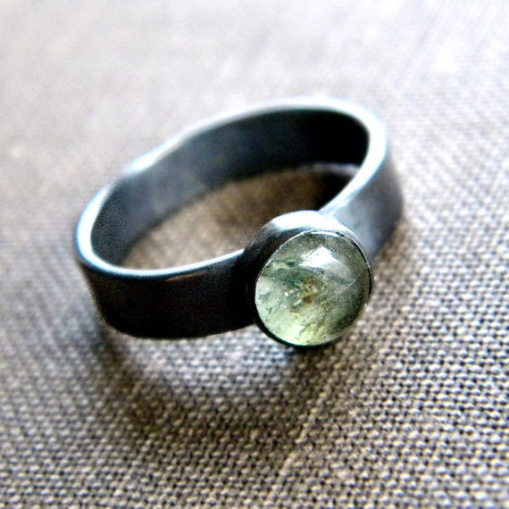 Emerald Ring, Sage Green Emerald Gemstone Oxidized Sterling Silver Ring - Size 5 - Pond