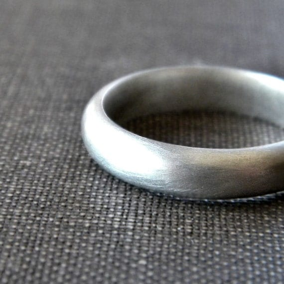 Men's Wedding Band, Matte 4mm Half Round Unisex Recycled Argentium Sterling Silver Ring Men's Ring - Made in Your Size
