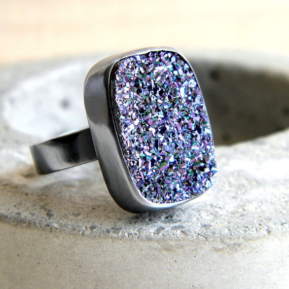 Druzy Ring, Violet Purple Drusy Sterling Silver - Made to Order - Peacock