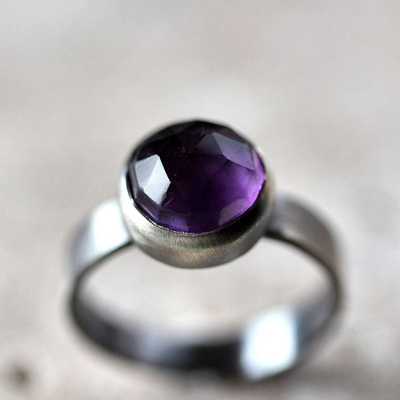 Amethyst Ring, Indigo Violet Purple Faceted Gemstone Oxidized Sterling Silver Gemstone Ring February Amethyst Jewelry - Made in Your Size