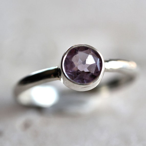 Lavender Amethyst Ring, Spring Pastel Lavender Faceted Gemstone Sterling Silver February Birthstone - Made to Order - Rhapsody
