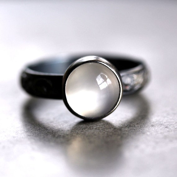White Moonstone Ring, Snow White Gemstone Oxidized Sterling Silver Ring Metalsmithed - Made to Order - Specter