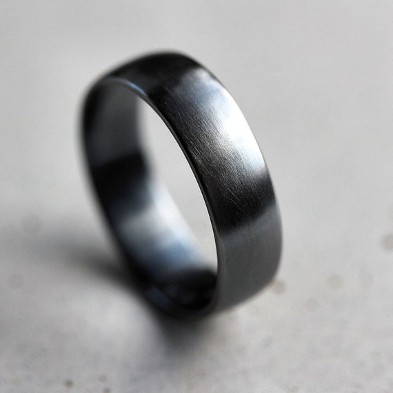 Mens Band, Brushed 6mm Men's or Women's Unisex Oxidized Argentium Sterling Silver Wide Ring Recycled Metal  -  Made In Your Size