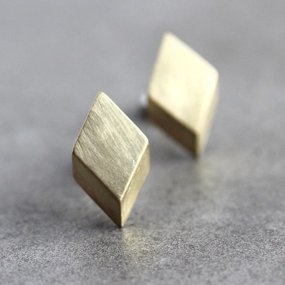 Geometric Modern Post Earrings, Brushed Golden Brass Diamond Sterling Silver Stud Earrings - Made to Order