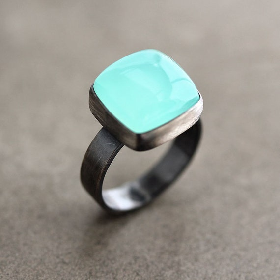 Aqua Chalcedony Ring, Seafoam Blue Green Chalcedony Oxidized Sterling Silver Ring - Made in Your Size - Windchill