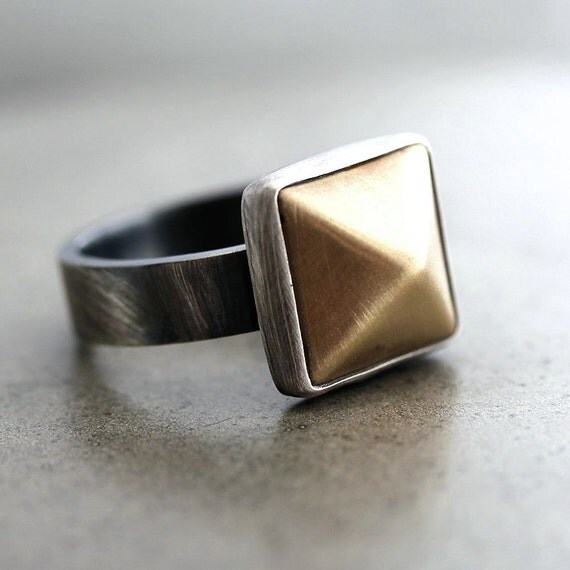 Pyramid Ring, Gold Brass Oxidized Sterling Silver Ring Modern Geometric Women's Ring - Ready to Ship Size 8