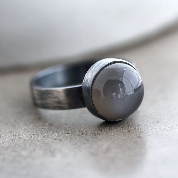 Gray Moonstone Ring, Charcoal Grey Moonstone Roughed Up Oxidized Sterling Silver Ring -  Made to Order