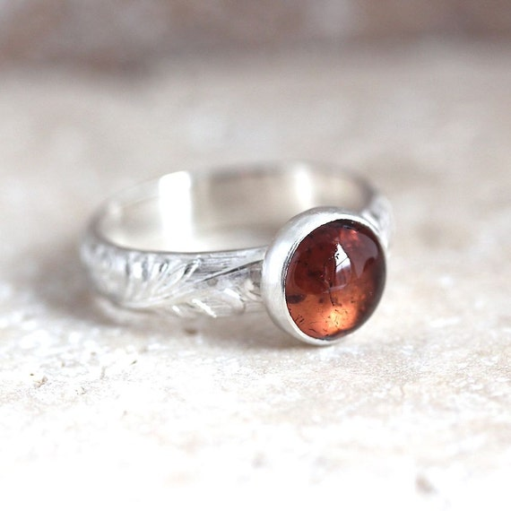 Peach Pink Tourmaline Ring, Apricot Gemstone Sterling Silver Ring October Birthstone Metalsmithed Ring US Size 6.5 Summer Fashion - Rosebud