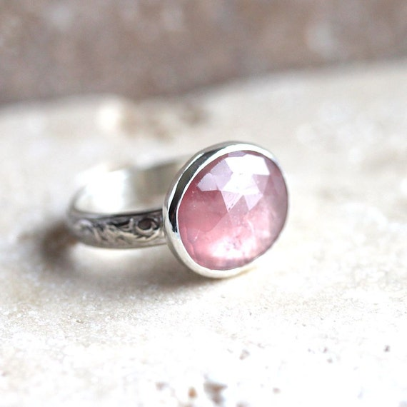 Pink Sapphire Ring Pastel Rose Peach Pink Faceted Stone Sterling Silver Engagement Ring  Sapphire Jewelry Spring Fashion - Size 5.5