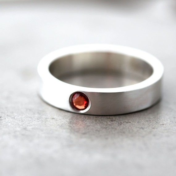 Apricot Sapphire Ring, Peach Tangerine Orange Stone Recycled Sterling Silver Modern Engagement Ring Sapphire Jewelry - Size 6.5