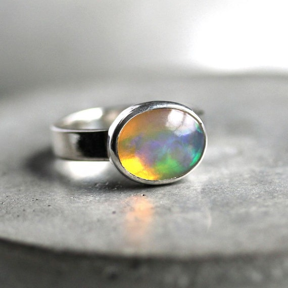 Opal Ring, Ethiopian Welo Opal Iridescent Sterling Silver Ring October Birthstone Opal Jewelry - Opalescent - Size 7